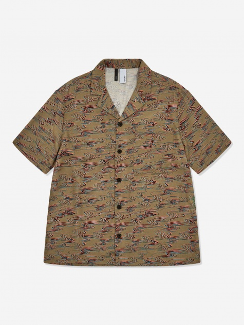 Camp Collar Shirt - Waves Print Black