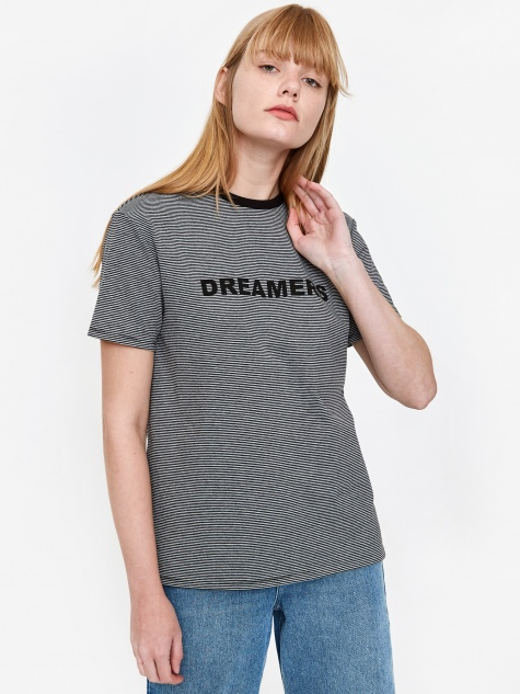 Striped Dreamers T-Shirt - Grey
