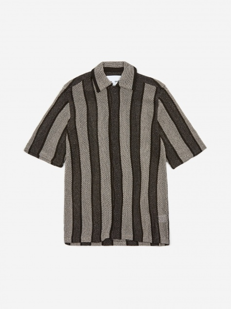 Wes Knitted Shortsleeve Shirt - Black/Silver