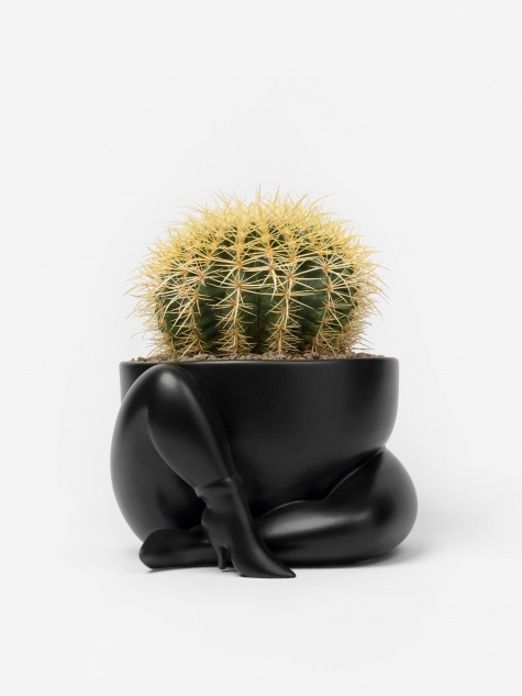 A High Heeled Two Legged Planter - Black