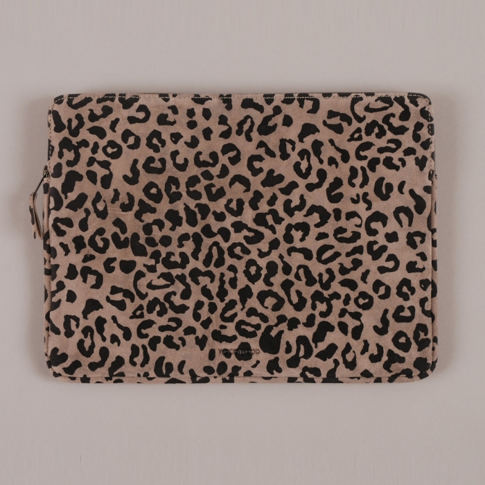 "Wood Wood Laptop Bag 13"" - Grey Suede Leopard (Image 1)"