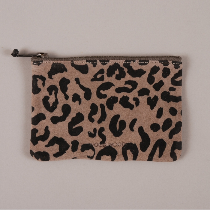 Wood Wood Zip Wallet - Grey Suede Leopard (Image 1)