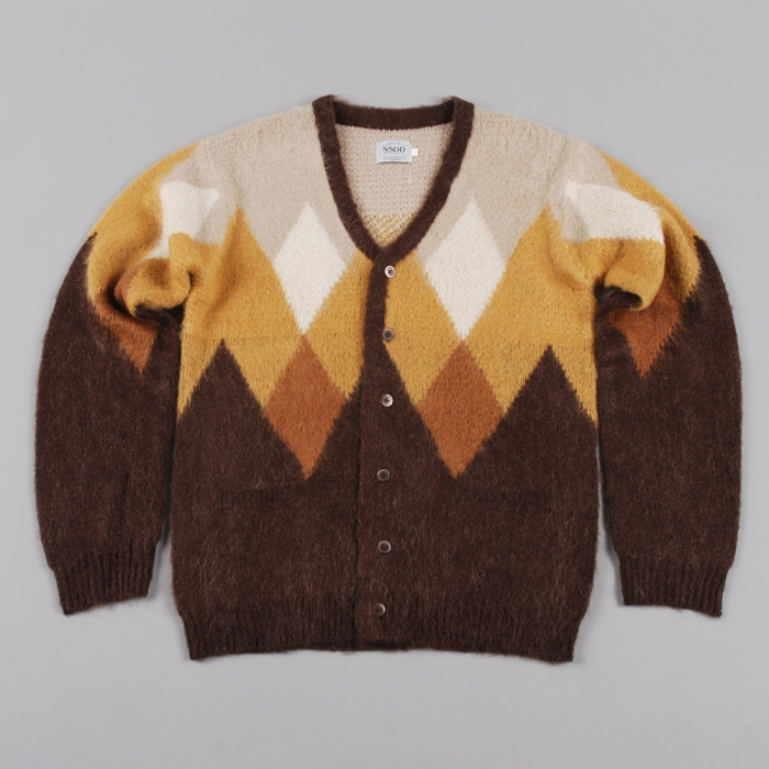 Fuct SSDD Mohair Cardigan - Brown Argyle (Image 1)