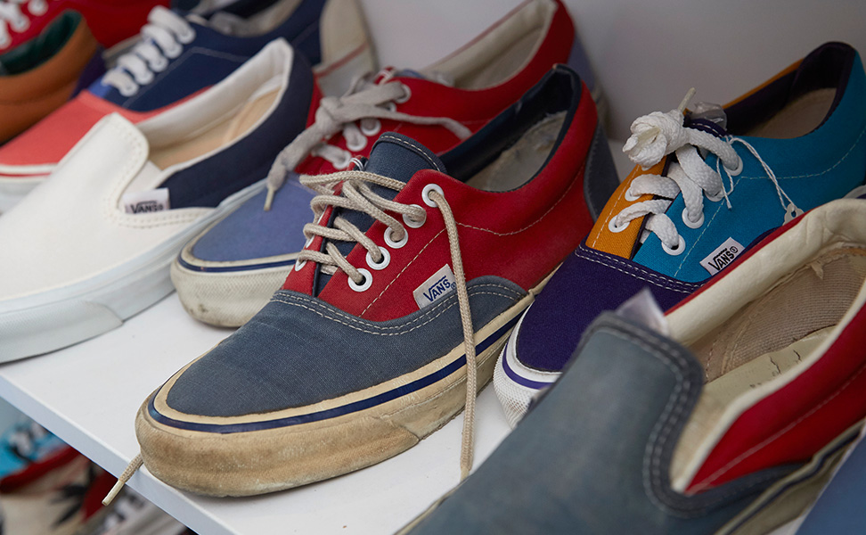 Blue and Red Era Vans