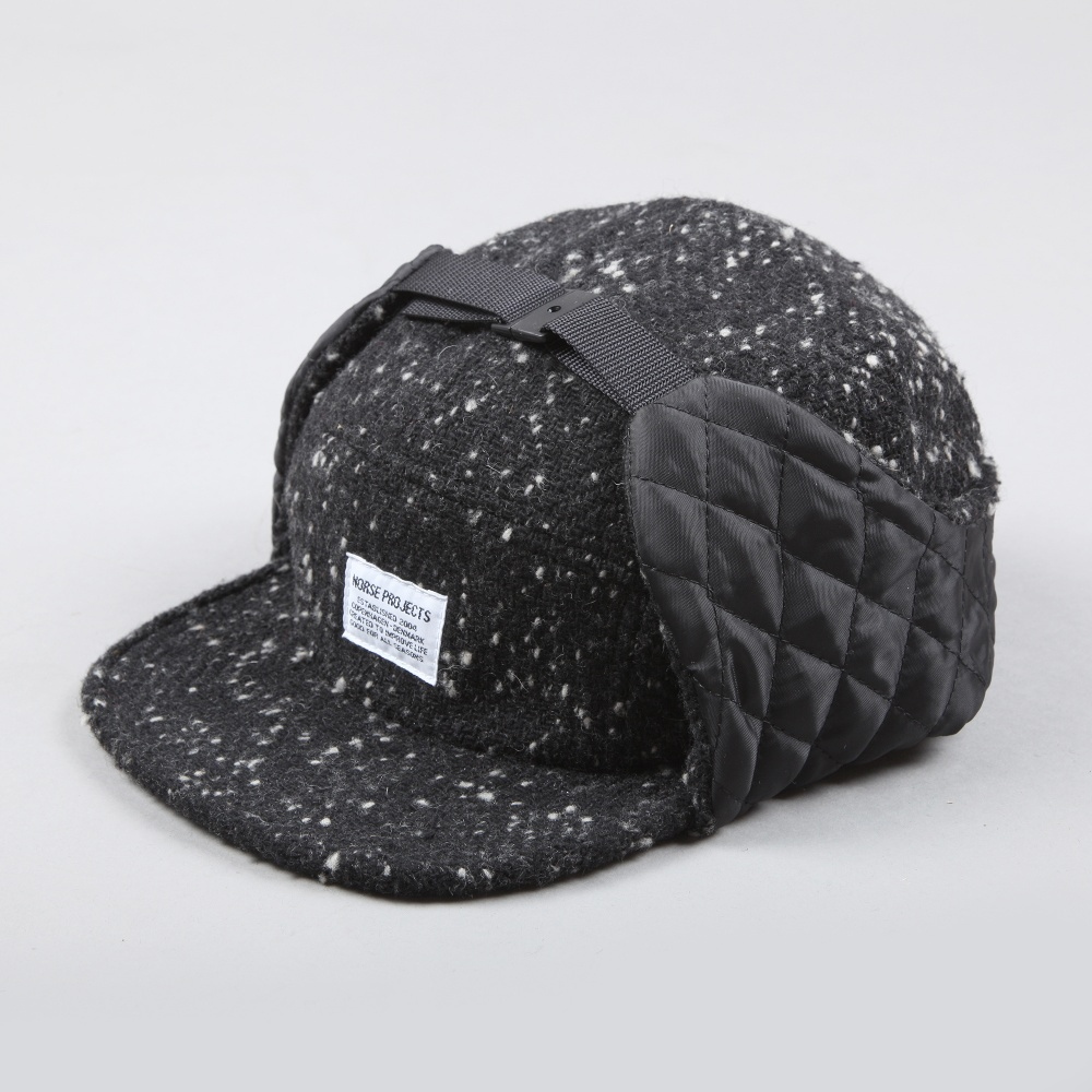 Norse Projects Insulated Tweed Cap - Black (Image 1) 7114b74a711