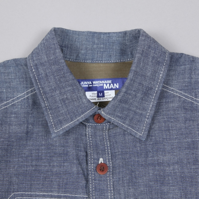 Junya Watanabe Man Cotton Chambray Wool Check Shirt - Indigo (Image 1)