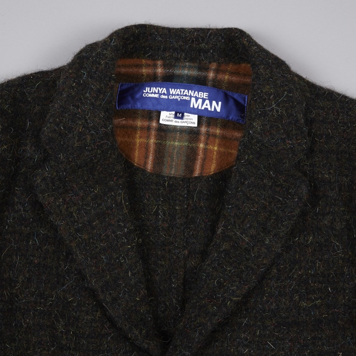 Junya Watanabe Man Wool Tweed Garment Milled Jacket - Green/Brow (Image 1)