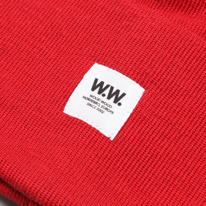 Wood Wood Tall Beanie - Red (Image 1)