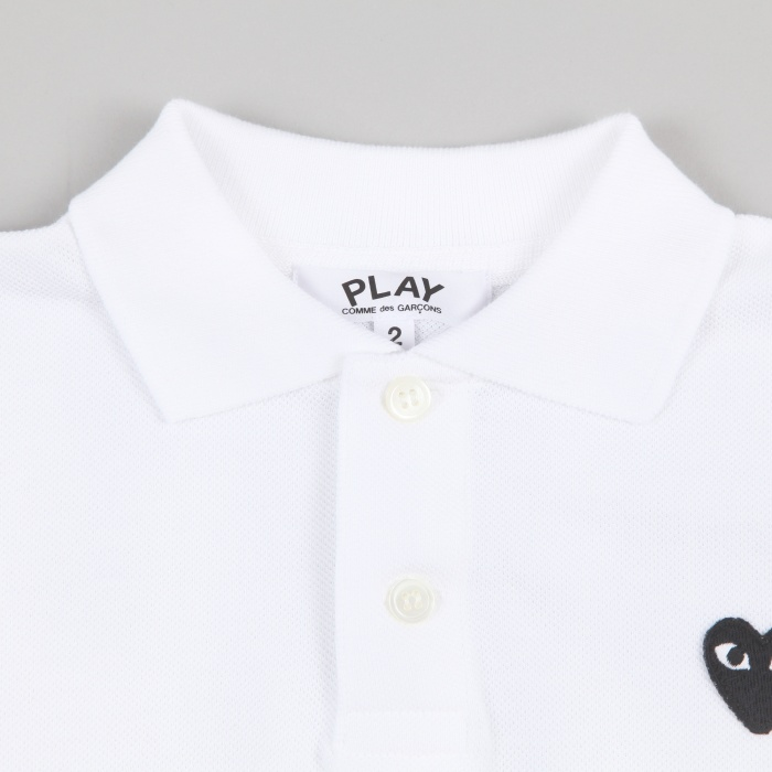 Comme des Garcons Play Kids Polo Shirt - White / Black Heart (Image 1)