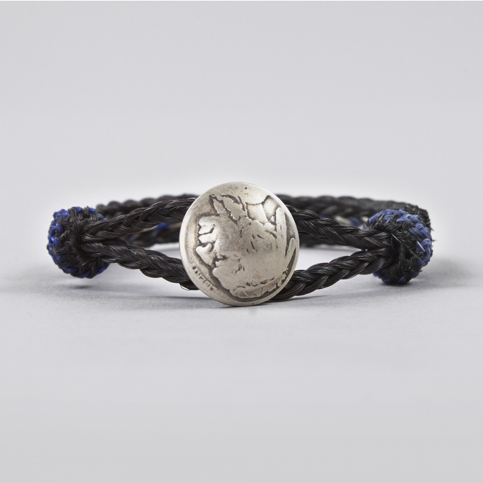 Chamula Indian Concho Bracelet - Black/Blue/Ivory (Image 1)
