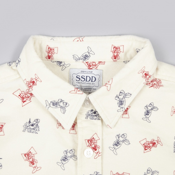 Fuct SSDD Fact Man Print Flannel Shirt - Off White (Image 1)