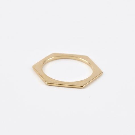 Hexagon Ring - 10K Gold