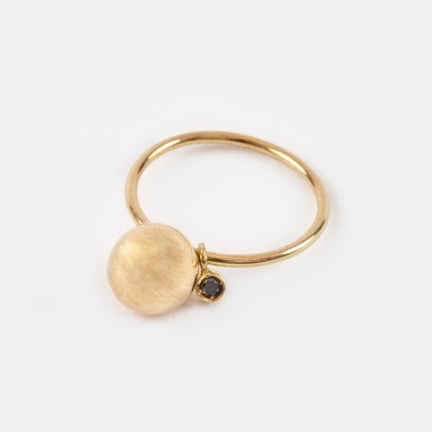 Ball Toy Ring - 18K Ygold/Black Diamond