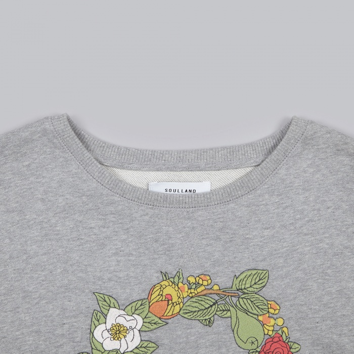 Soulland Florarina Embroidered Sweat - Grey (Image 1)