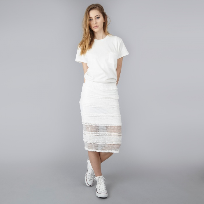 Ganni Decado Lace Pencil Skirt - Cream (Image 1)