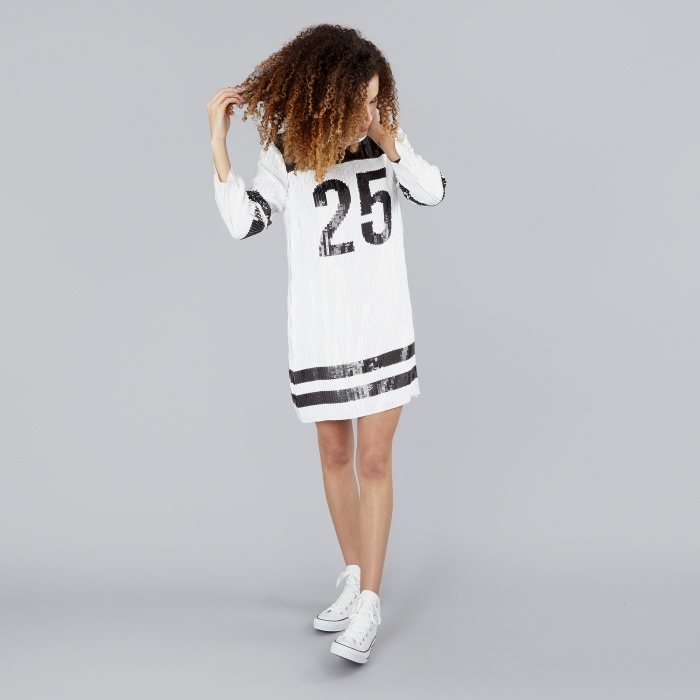 DKNY 3/4 Sleeve Shift Dress Sequin - White/Black (Image 1)