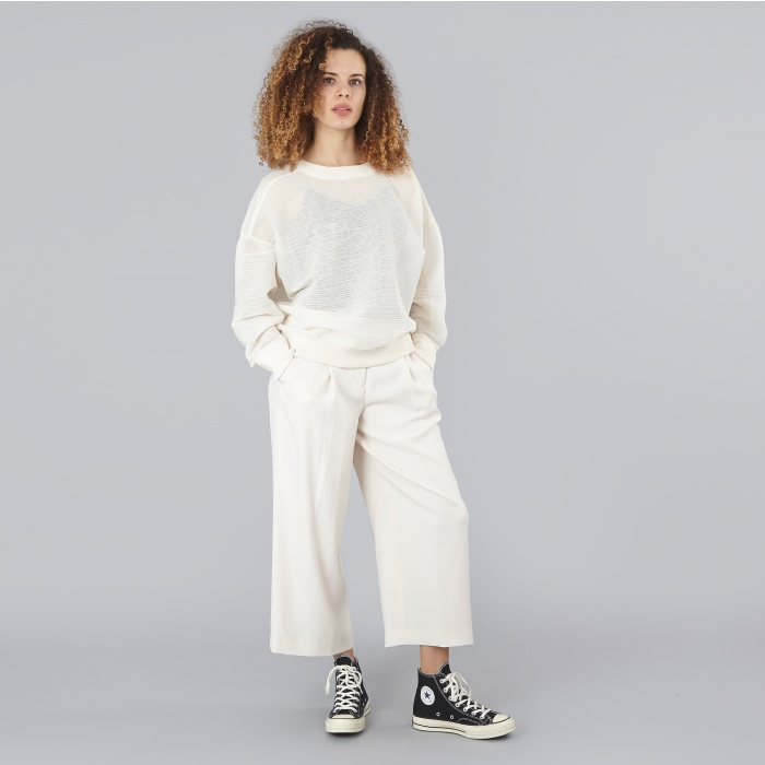 DKNY L/S Drop Shoulder Rib Knit - Ivory (Image 1)