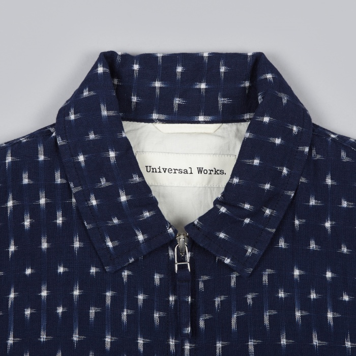 Universal Works Ikat Cross Windcheater - Navy (Image 1)