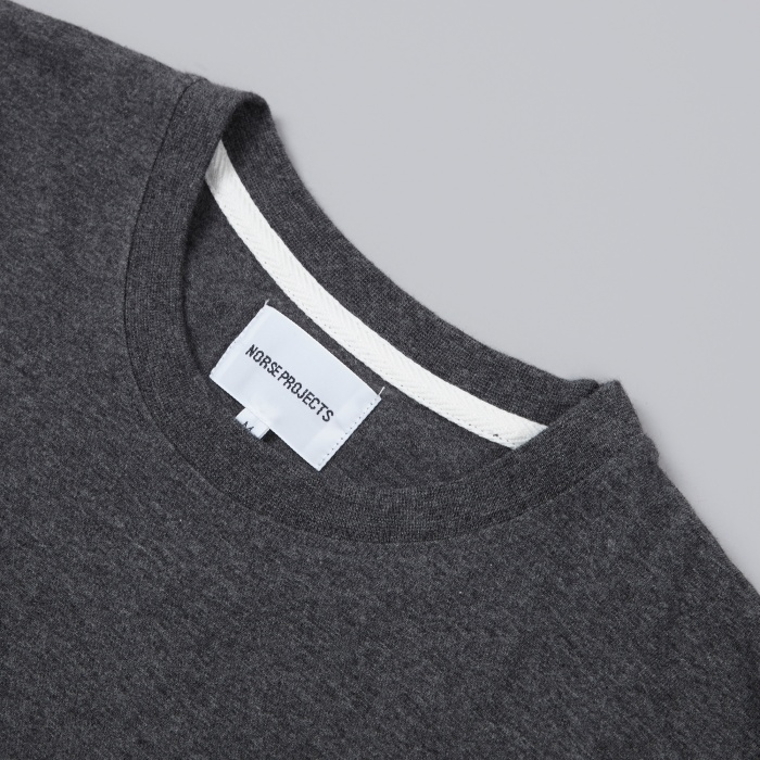 Norse Projects Niels Basic Tee - Mouse Grey Melange (Image 1)