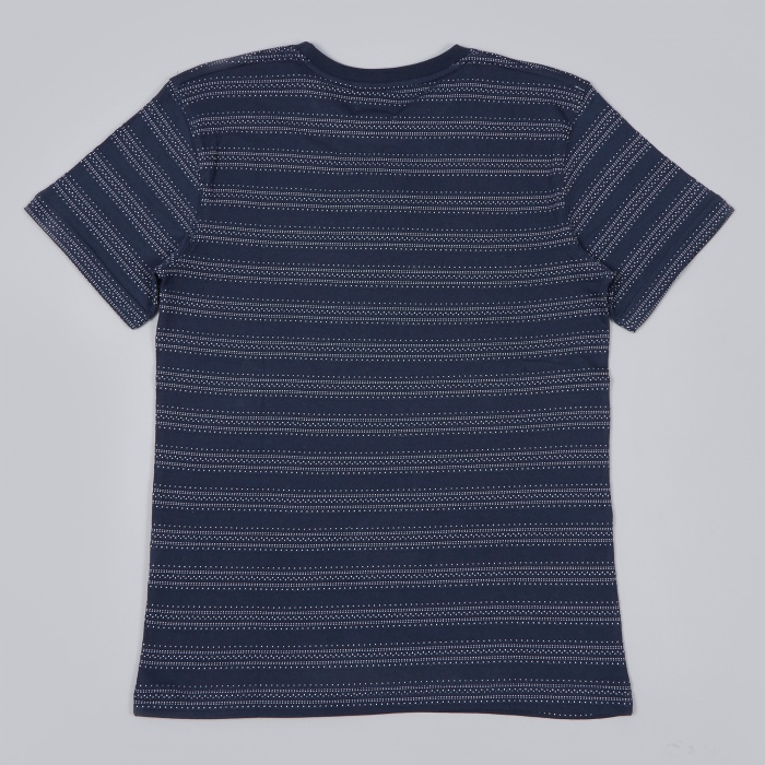 Norse Projects Niels Texture Stripe Tee - Dark Navy (Image 1)
