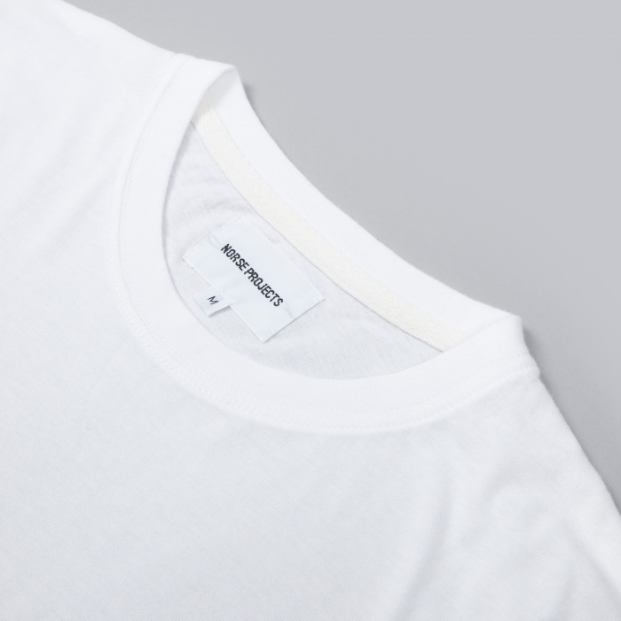 Norse Projects Niels Classic Logo LS Tee - White (Image 1)