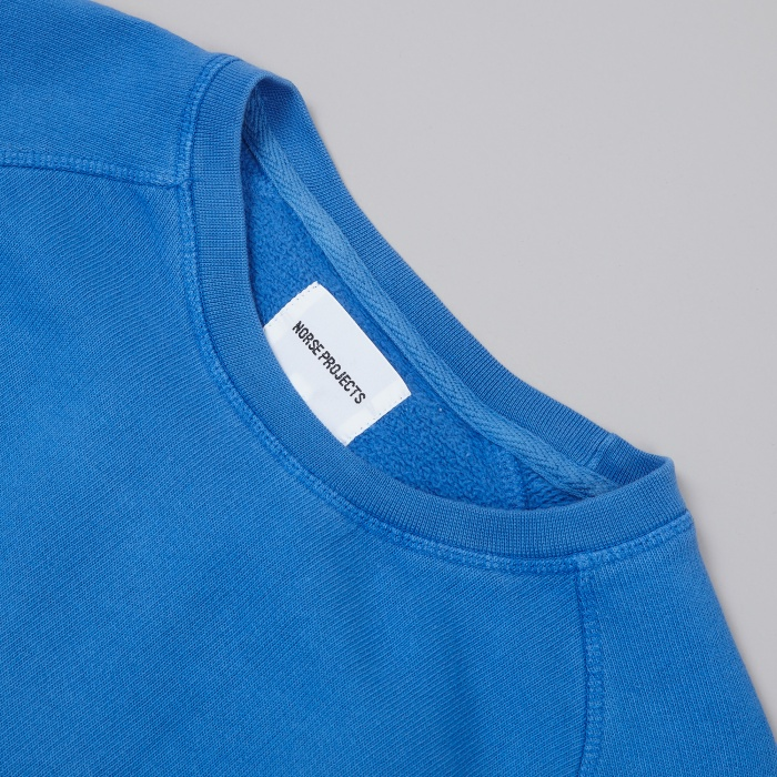 Norse Projects Vorm Brushed Indigo Sweat - California Blue (Image 1)