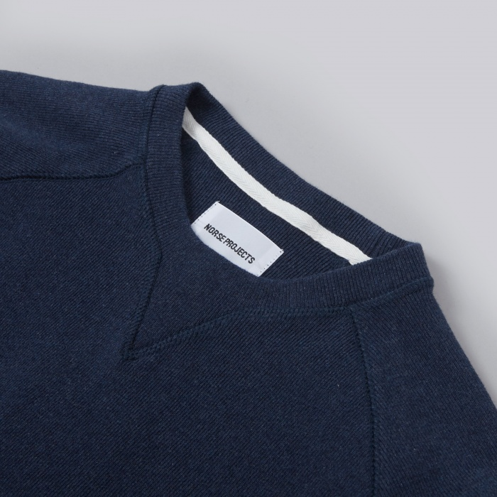 Norse Projects Thorbjorn Rib Jersey - Blue Melange (Image 1)