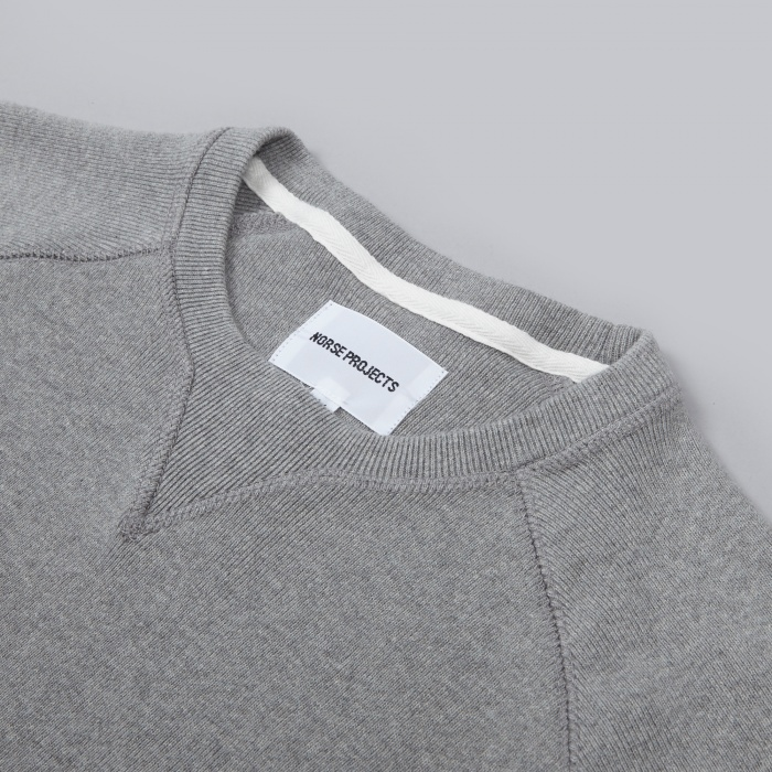 Norse Projects Thorbjorn Rib Jersey - Light Grey Melange (Image 1)