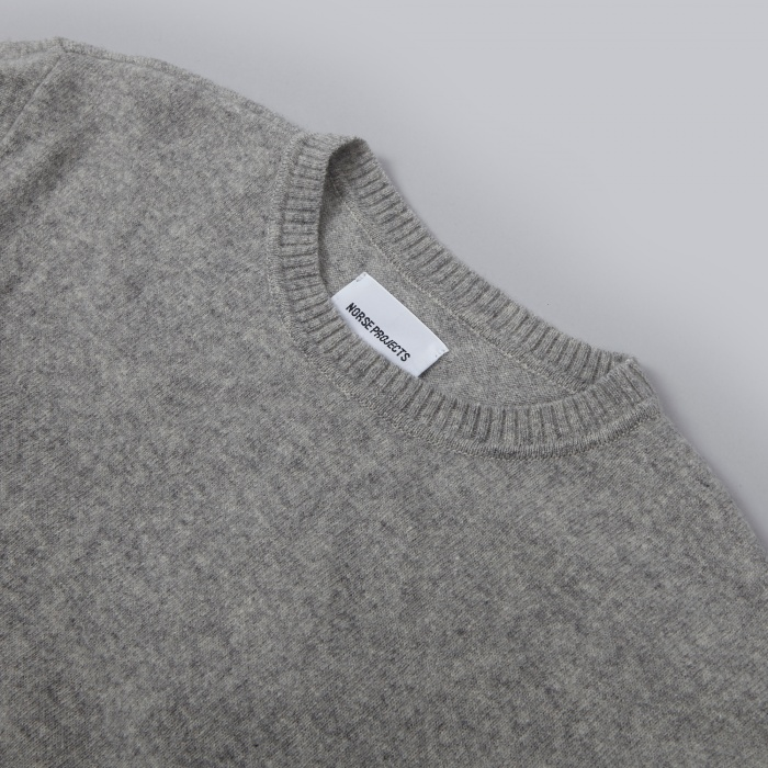 Norse Projects Sigfred Lambswool Knit - Light Grey Melange (Image 1)