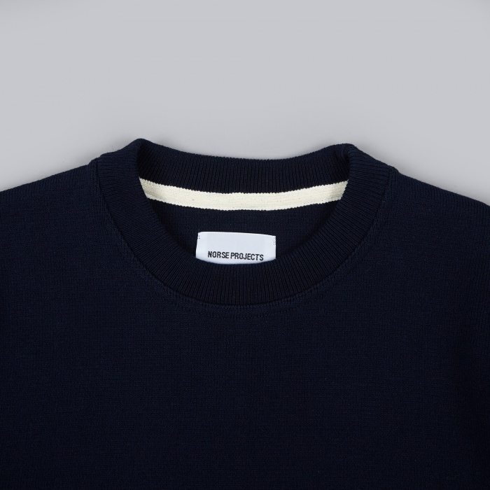 Norse Projects Verner Cotton Milano Knit - Dark Navy (Image 1)
