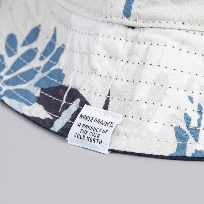 Norse Projects Reversible Flower Bucket Hat - Navy (Image 1)