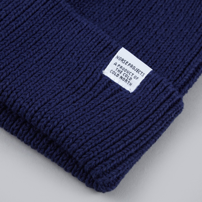 Norse Projects Cotton Watch Beanie - Indigo (Image 1)