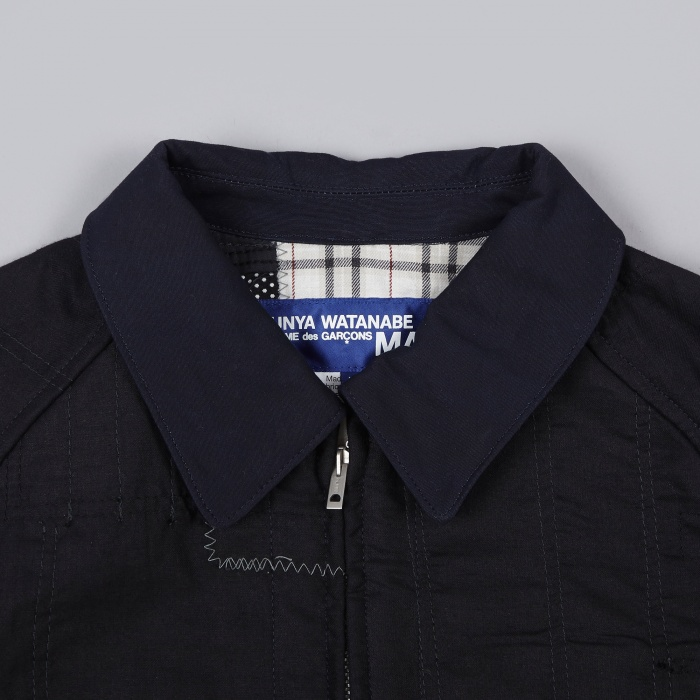 Junya Watanabe Man Stripe Mix Patchwork Jacket - Indigo (Image 1)