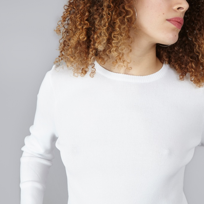 DKNY L/S Cropped Pullover - White (Image 1)