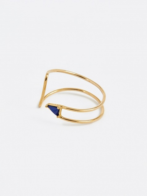 Curved Triangle Ring - Lapis