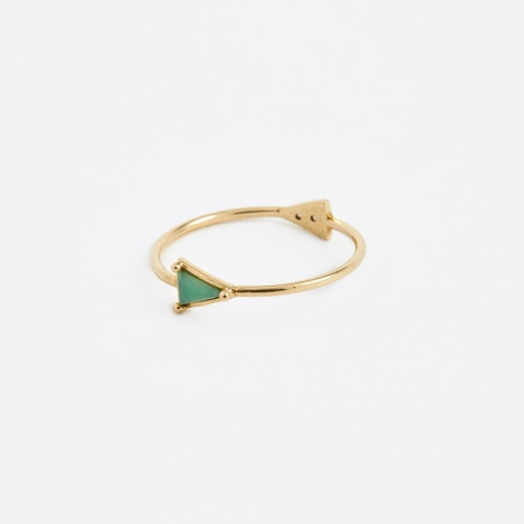 Double Triangle Gold Ring - Chrysoprase