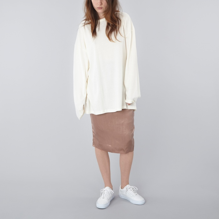 Can Pep Rey Oversized Long Sleeve Top - Whisper White (Image 1)