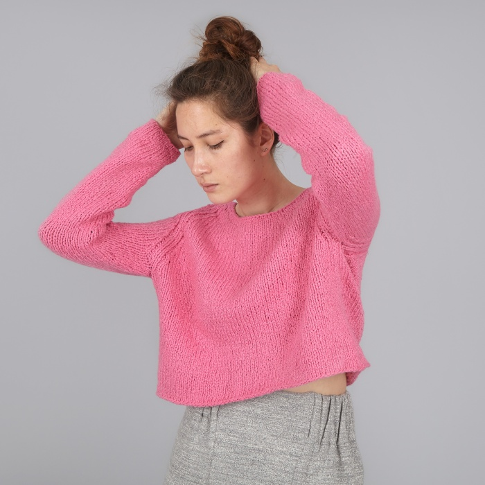 Apiece Apart Cropped Cotton Sweater - Pink (Image 1)