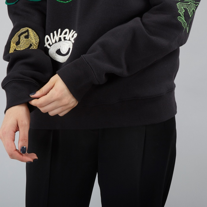 Aries Logo Embroidered Sweater - Black (Image 1)
