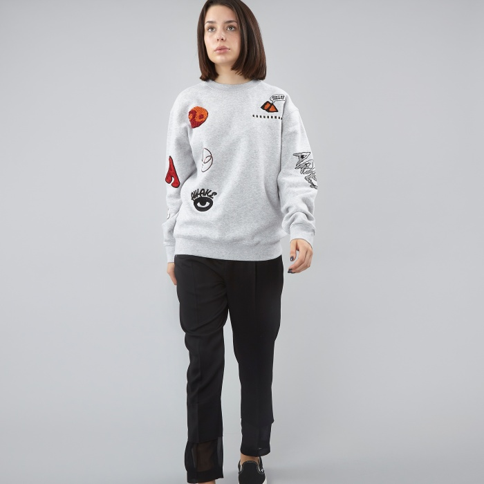 Aries Logo Embroidered Sweater - Grey (Image 1)