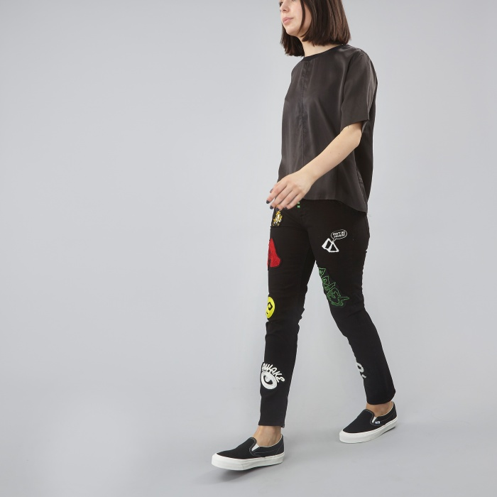 Aries Skinny Patched Jeans - Black (Image 1)