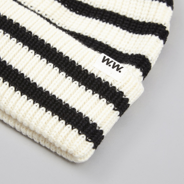 Wood Wood Striped Beanie - Off-White Stripe (Image 1)