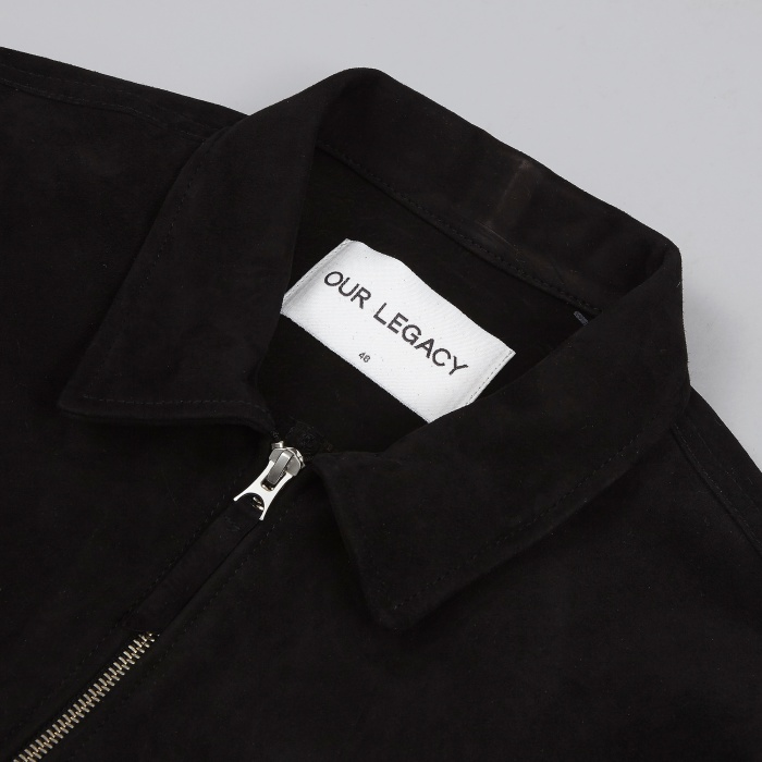 Our Legacy Suede Zip Shirt - Black (Image 1)