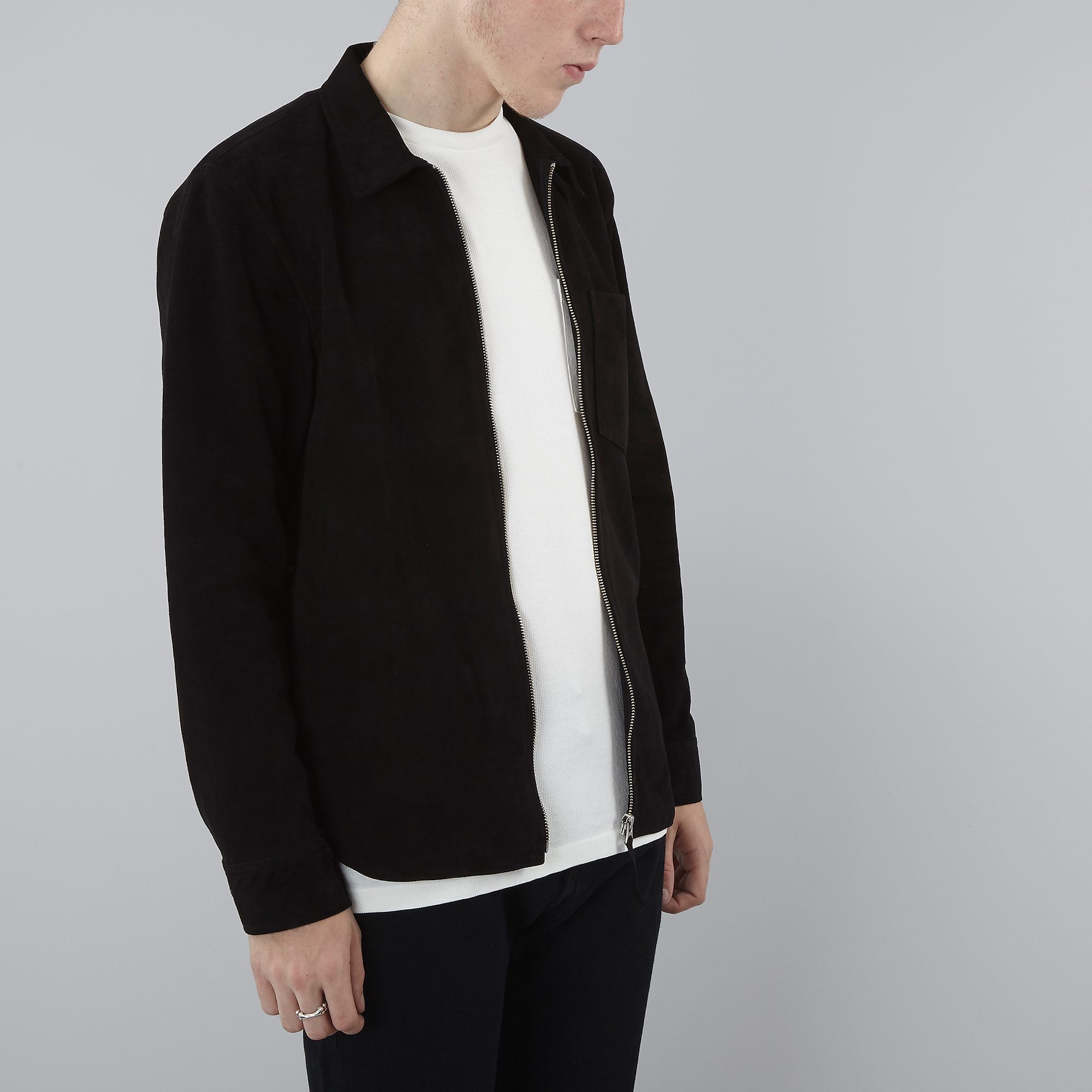 9b718ebfbbea Our Legacy Suede Zip Shirt - Black