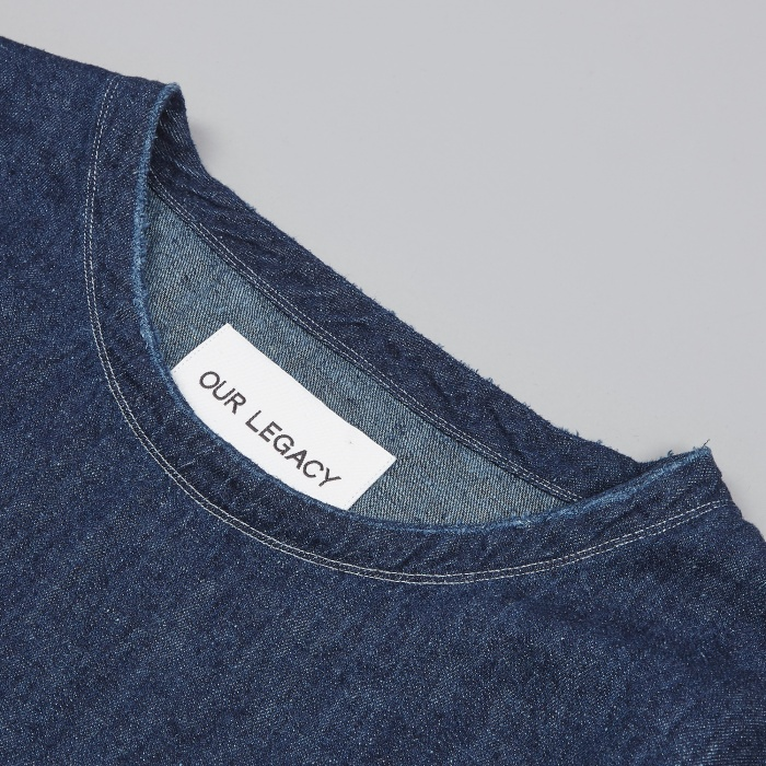 Our Legacy Weaved Longsleeve Tee - 7oz Blue Denim (Image 1)