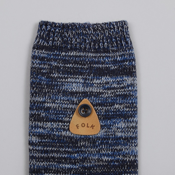 Folk Melange Socks - Navy (Image 1)