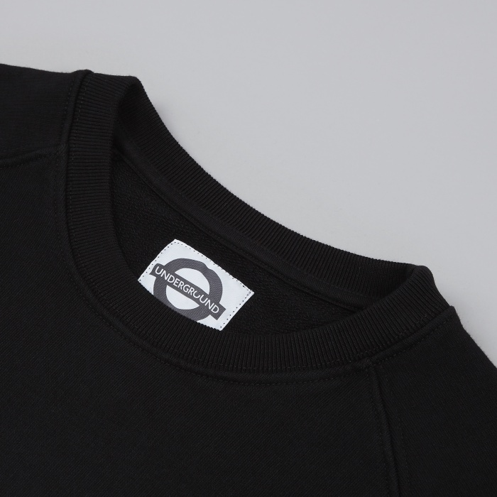 Roundel Broken Glass French Terry Crew Neck - Black (Image 1)
