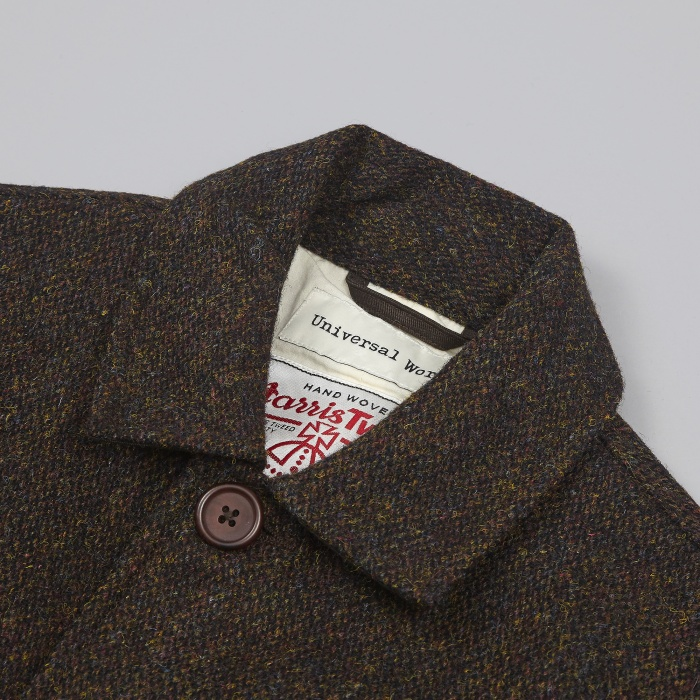 Universal Works Chore Jacket Harris Tweed - Olive (Image 1)