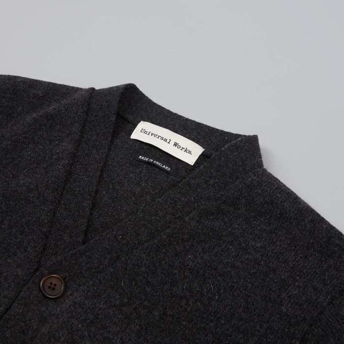 Universal Works Soft Wool Cardigan - Charcoal (Image 1)