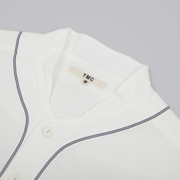 YMC Taped Baseball Shirt Chambray - White (Image 1)
